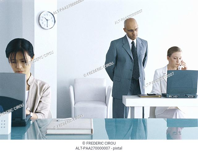 Two women working on laptops in office, man looking over one woman's shoulder