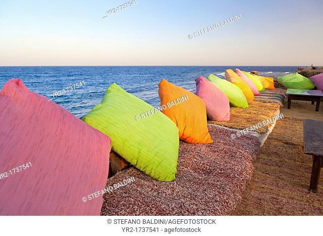 Cushions in a red sea resort restaurant in Dahab,Sinai, Egypt