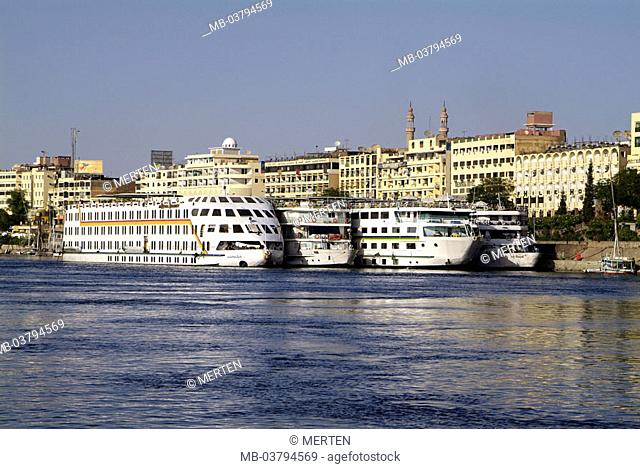 Egypt, Assuan, view at the city, river Nile,  Landing place, cruise ships,  Africa, head Egypt, city, Corniche, shipping, cruise, Nile cruise, ships, cruiser