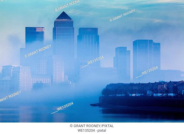 Canary Wharf In The Fog, London, England