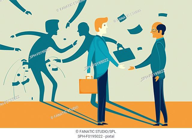 Illustration of businessman misleading colleague