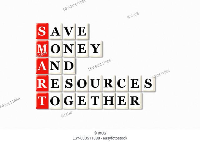 acronym of Smart and other relevant words on white