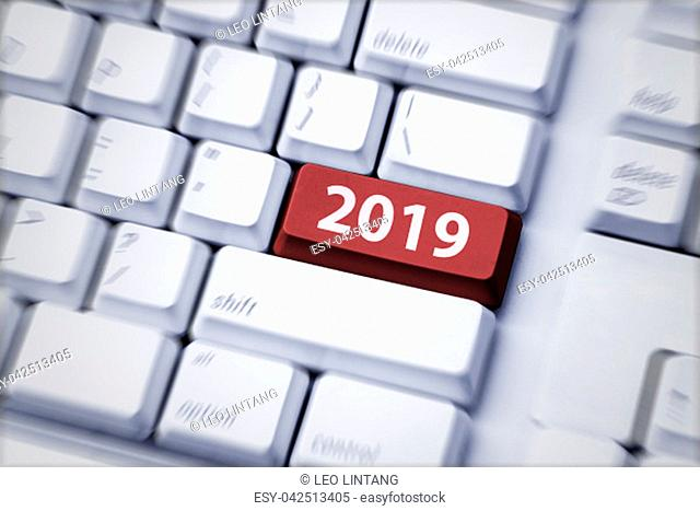 2019 number on computer keyboard. Happy New Year 2019