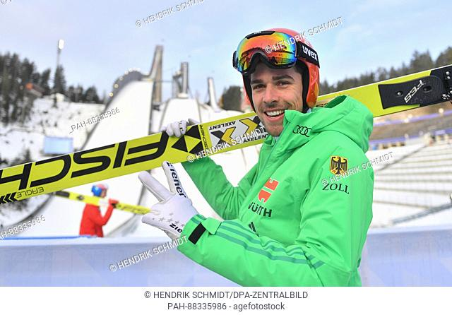 The nordic skiing combined athlete Johannes Rydzek from Germany after a training session on the normal ski jump at the Nordic Skiing World Championships in...