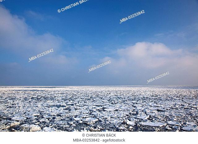 Ice floes in the sea, island Sylt, the North Frisians, Schleswig - Holstein, Germany