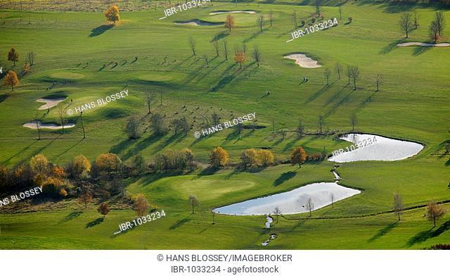 Aerial picture, Velbert Gut Kuhlendahl golfclub, Neviges, Velbert, Ruhr area, North Rhine-Westphalia, Germany, Europe