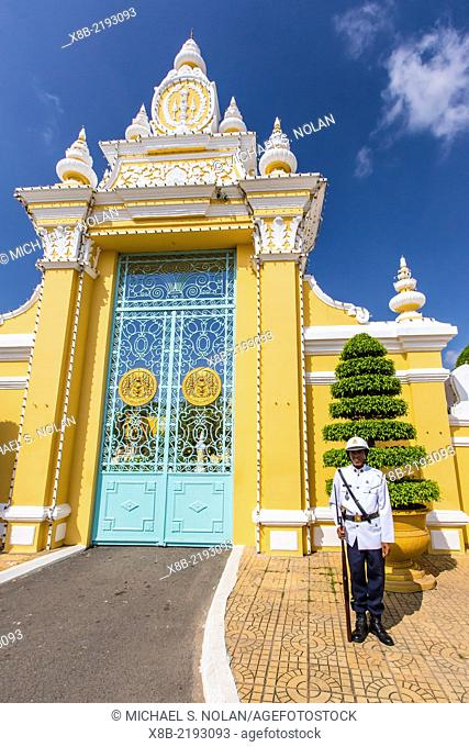 Entrance to the Royal Palace in the capital city of Phnom Penh, Cambodia (Khmer)