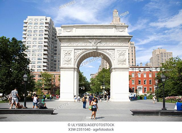 Stanford white arch, Washington square park, Greenwich village, New York, USA, America