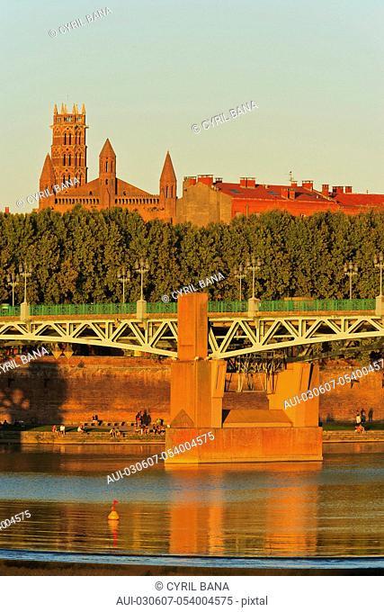 France, Toulouse, Saint Pierre bridge, reflection