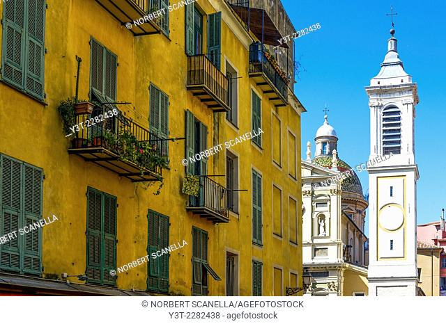 Europe, France, Alpes-Maritimes, Nice. Colorful building of the old town, place Rossetti and the St. Reparate cathedral