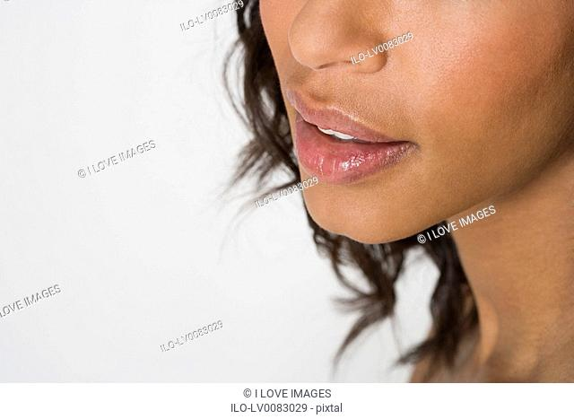 Close-up of woman's nose and mouth