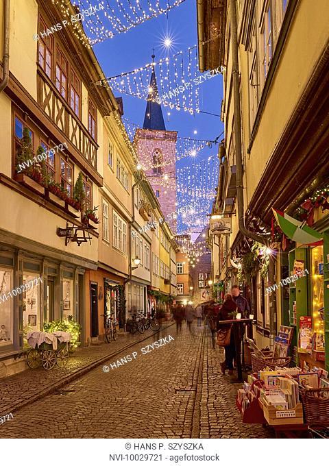 Krämerbrücke at Christmas time in Erfurt, Thuringia, Germany