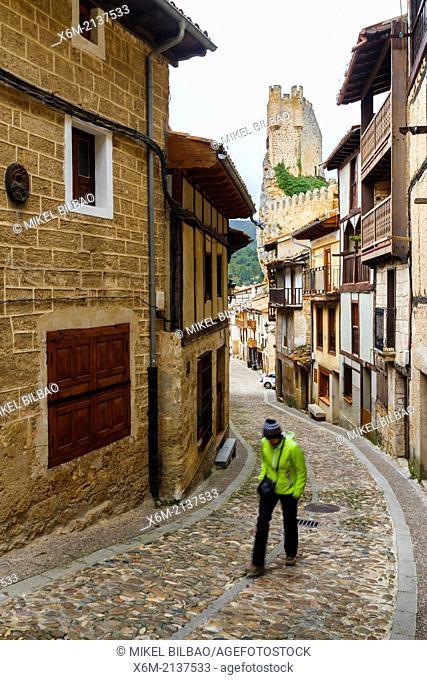 Castle and village. Frias, Burgos, Castile and Leon. Spain, Europe