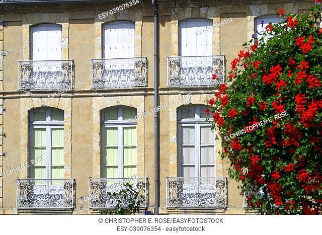 Architectural details, shuttersand summer colour, Fleurance, Gers, France,