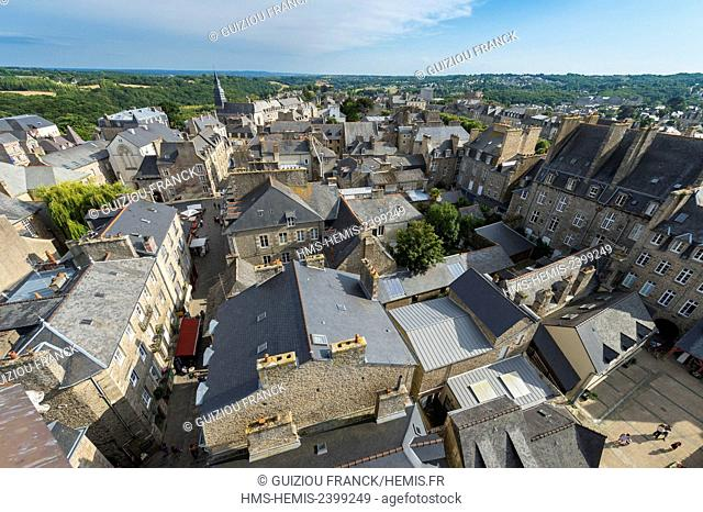 France, Cotes d'Armor, Dinan, panorama over the old town from the Clock Tower, 15th century belfry, 45 meters high