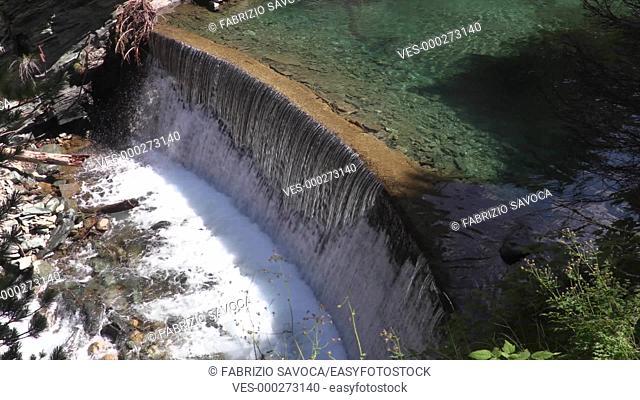 Artificial waterfall near Lillaz, Aosta Valley, Italy