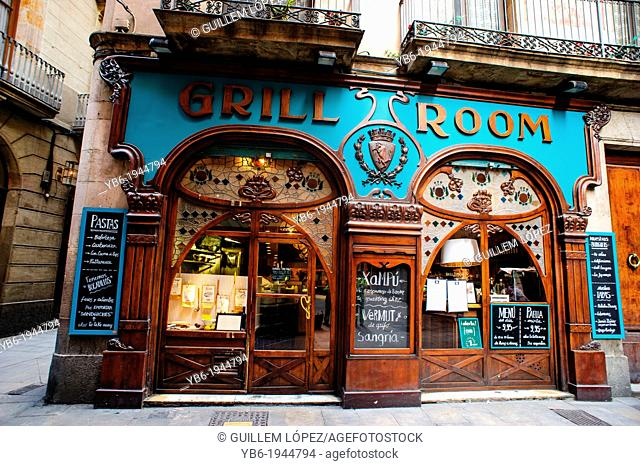 The grill room traditional restaurant in Barcelona, Spain