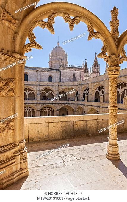 Mosteiro dos Jeronimos viewed through arch, Lisbon, Portugal