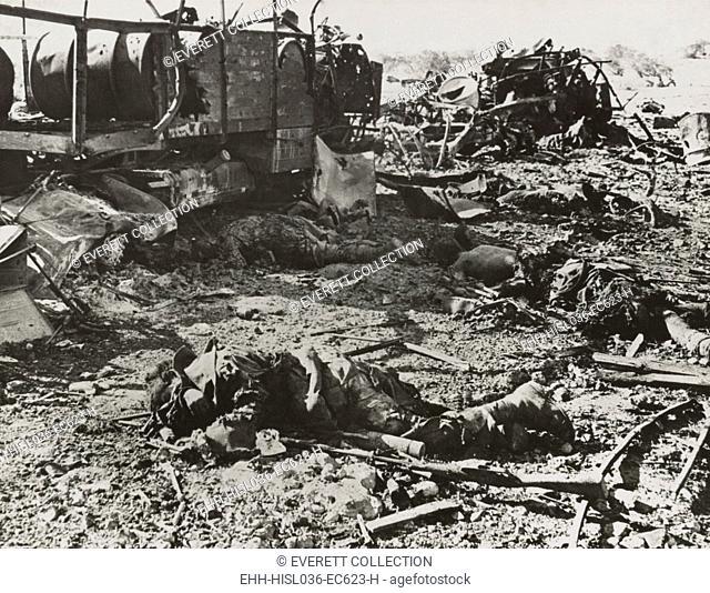 Dead Italian troops were transporting ammunition when struck by British artillery. Near Derna, Cyrenaica, during World War 2, ca. 1940-42