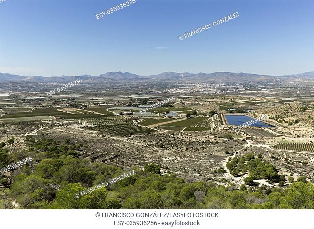 Views of the countryside of Monforte, Aspe and Novelda in the province of Alicante, Spain