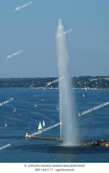 View of the Lake Geneva with Jet d'Eau from the tower of St Pierre Cathedral, Geneva, Switzerland, Europe