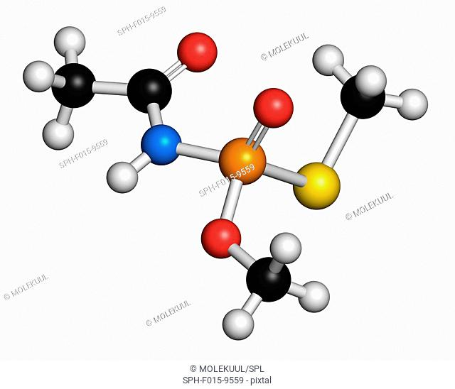 Acephate insecticide, molecular model. Atoms are represented as spheres with conventional colour coding: hydrogen (white), carbon (black), nitrogen (blue)