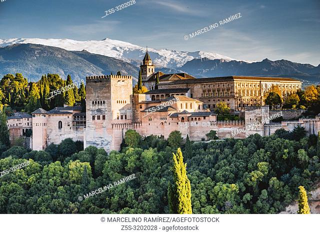 Alhambra. Nazaries Palaces and Palace of Charles V from Mirador de San Nicolas. Granada, Andalucia, Spain, Europe