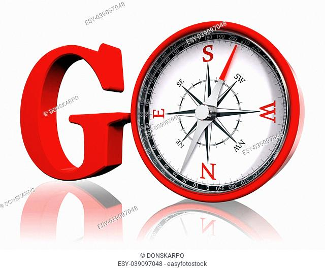 go red word and conceptual compass on white background.clipping path included