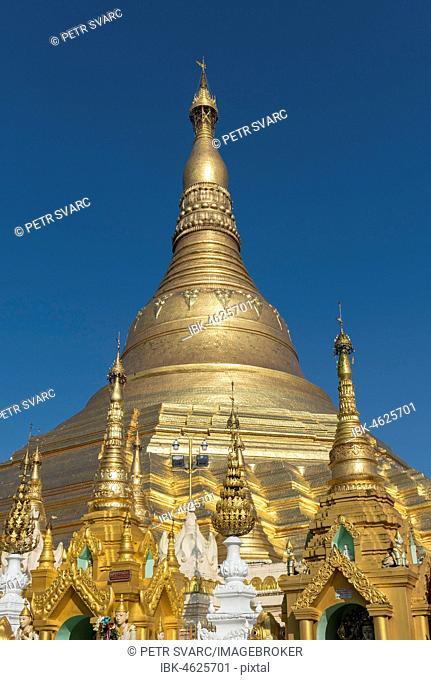 Golden Stupa of Shwedagon Pagoda, Yangon, Myanmar, Burma