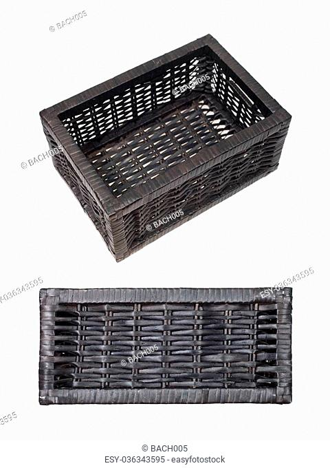 Woven baskets isolated against a white background