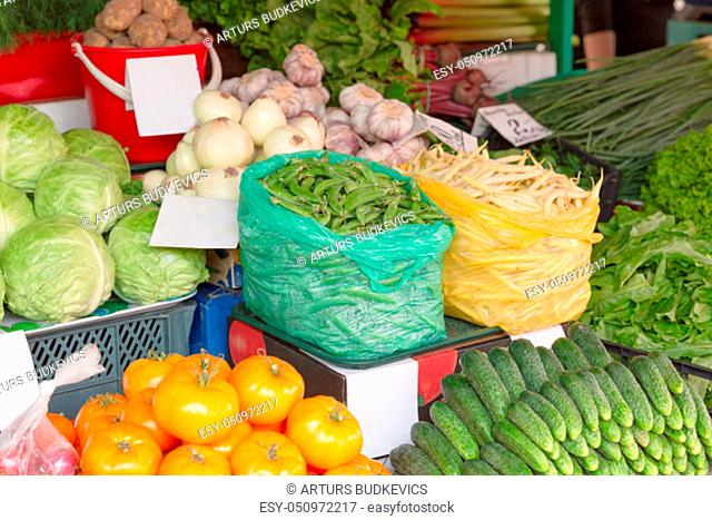Fresh organic and vegetables at farmers market in city