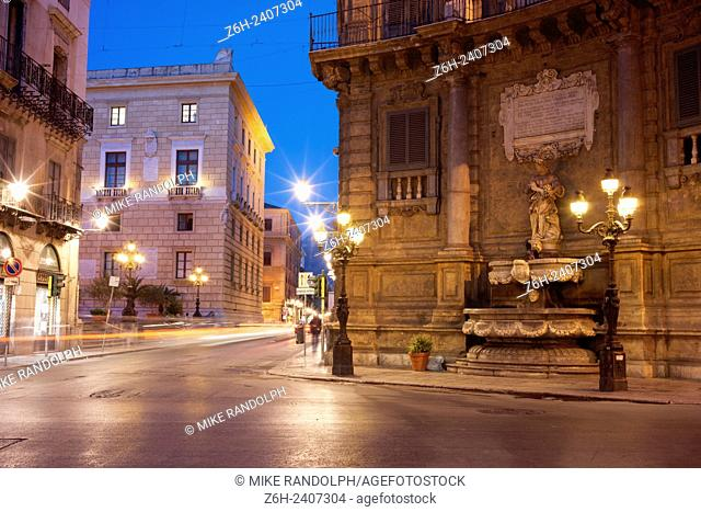 Palermo, Sicily. Quattro Canti, officially known as Piazza Vigliena, is a famous square in Palermo