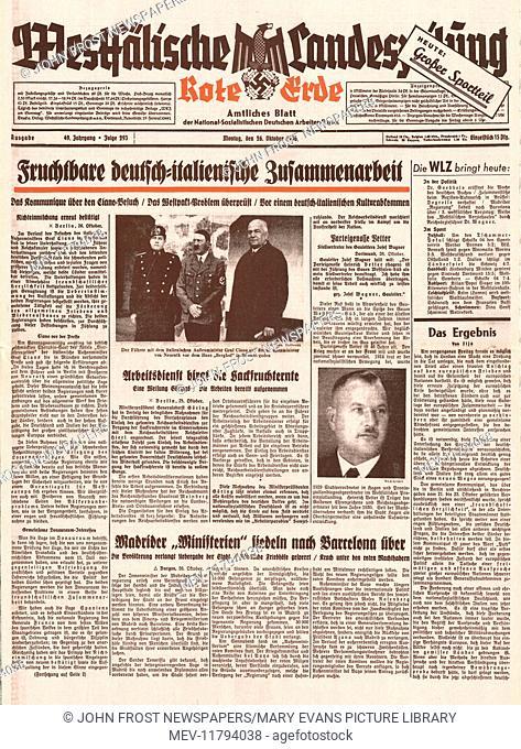 1936 Westfalischer Landeszeitung front page German/Italian diplomatic talks
