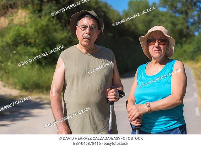 Senior couple on hike . Healthy lifestyle concept