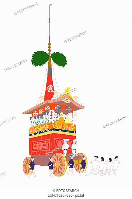 Decorated floats of Gion Matsuri, low angle view, Kyoto prefecture, Japan