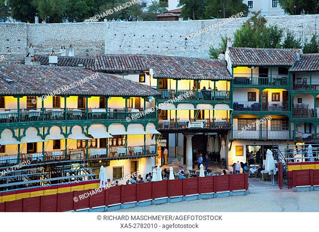 Plaza Mayor with Converted Bullring, Balconies, Evening, Chinchon, Spain