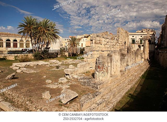Tempio di Apollo, Temple of Apollo at the historic centre, UNESCO World Heritage Site, Syracuse, Sicily, Italy, Europe