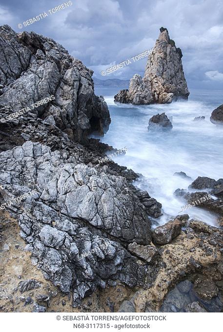 Es Niu de s'Aguila under storm, Alcudia, Majorca, Balearic Islands, Spain