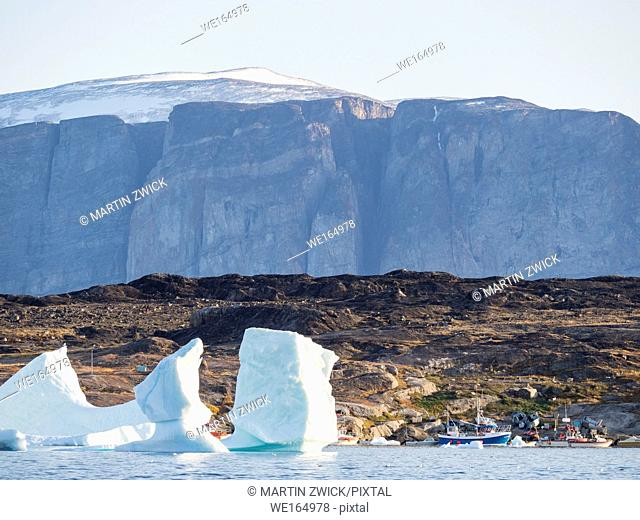 Ikerasak, a small traditional fishing village on Ikerasak Island in the Uummannaq fjord system in the north of west greenland. The harbour