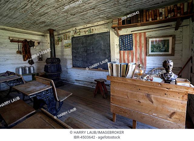 Old classroom with the teacher's desk, Wild West open-air museum, Nevada City Museum, former gold mining town, Ghost Town, Montana Province, USA