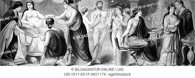 Cultural history of ancient rome, from left: women's lives, ball game, artist, historical illustration