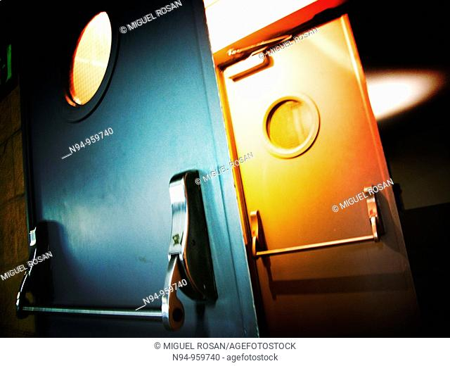 Fire doors in a underground public parking