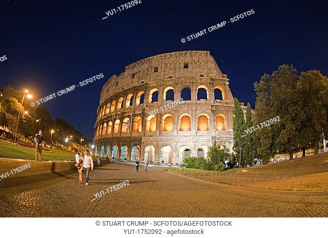 Fisheye of The exterior of The Colosseum floodlit in the evening  Rome, Italy, Europe
