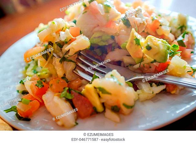 Chilled spicy Peruvian ceviche with crab and shrimp