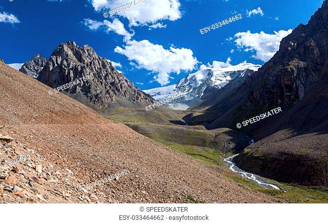 Scenery of ravine in Tien Shan mountains. Kirghizia