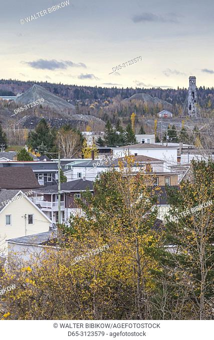 Canada, Quebec, Chaudiere-Appalaches Region, Thetford Mines, King Mine historic site and town skyline, autumn