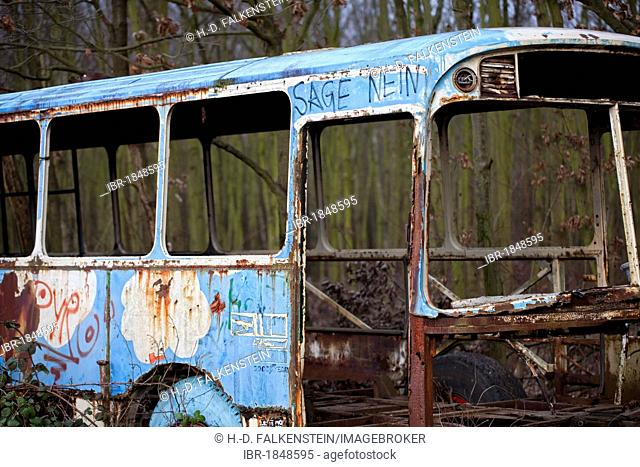 Sage nein, German for Say no, written on a bus wreck, Cologne, North Rhine-Westphalia, Germany, Europe