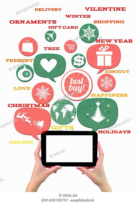 Online winter holiday shopping or shop business template.Hand holding tablet colorful bubbles/buttons floating of it with online shopping icons and text