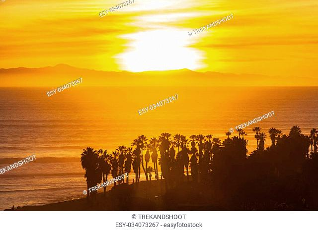 Channel islands sunset with palms in Ventura, California