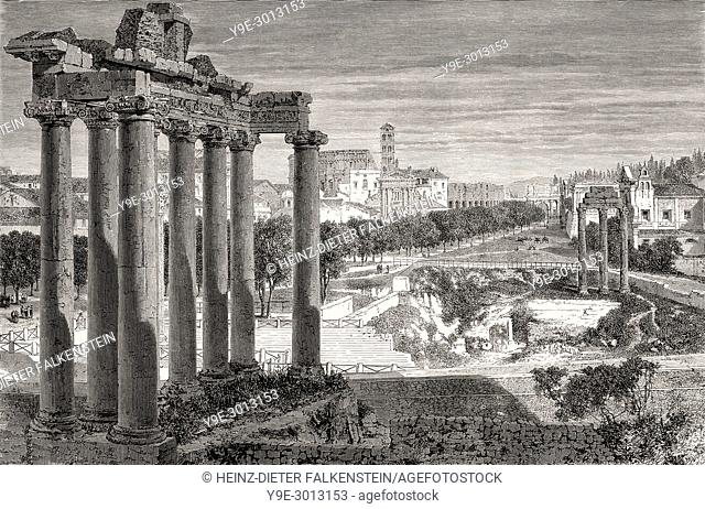 The Roman Forum or Forum Romanum, Rome, Italy, 19th Century
